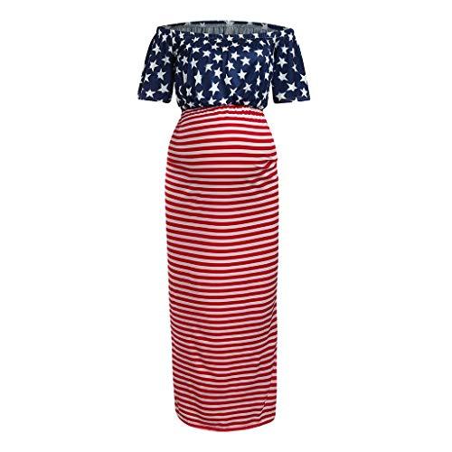 Vestido de Verano para Mujeres Embarazadas de Allence, Elegante, Sexy, con Hombros Descubiertos, Estilo de Moda Rojo S