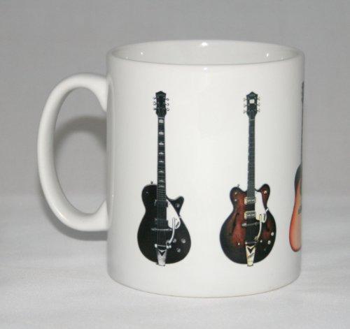 Gitarre-Becher. George Harrison. 5 Berühmte Gitarren. Gretsch, Gibson & Rickenbacker