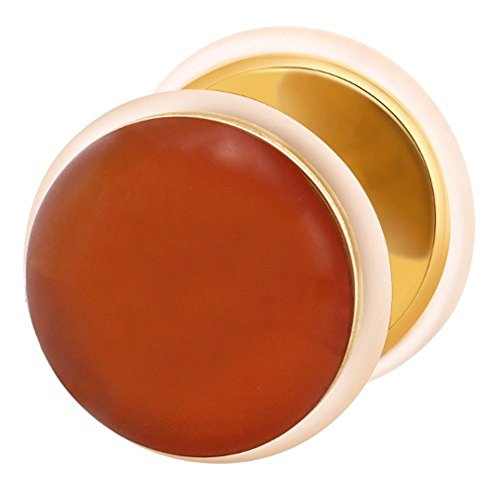 Dilatador falso piercing dorado plug, pendiente, piedra linia roja ágata