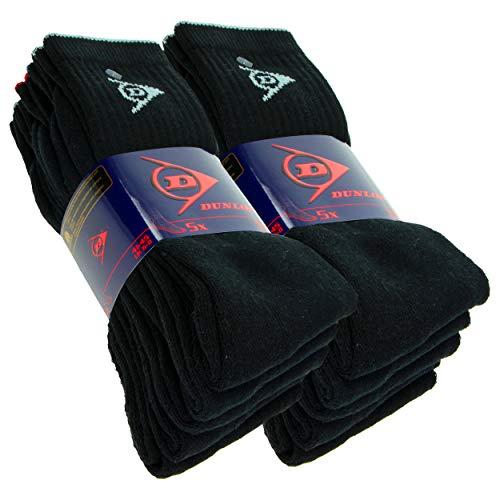 DUNLOP 10 pares de calcetines deportivos, media altura de la pantorrilla, rizo, excelente calidad de algodón (Negro, 41-45)