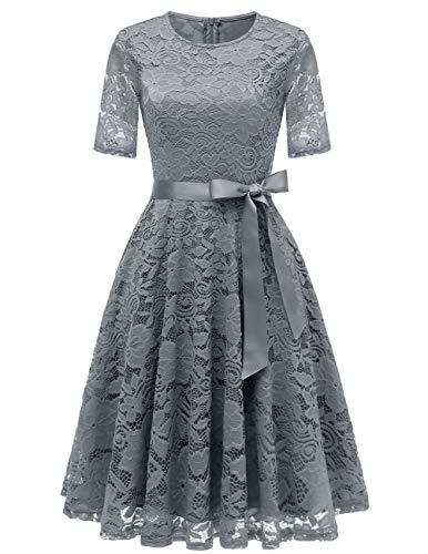 DRESSTELLS Elegant Damen Hochzeit Cocktail Spitzenkleid Rundhalsausschnitt Kurzarm Abendkleid Grey XL