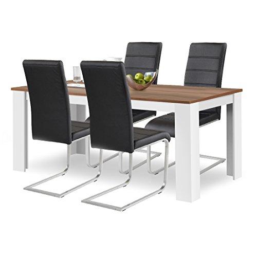 agionda® Esstisch Stuhlset : 1 x Esstisch Toledo 160 x 90 Nussbaum/Weiss 4 Freischwinger Kunstleder PU schwarz