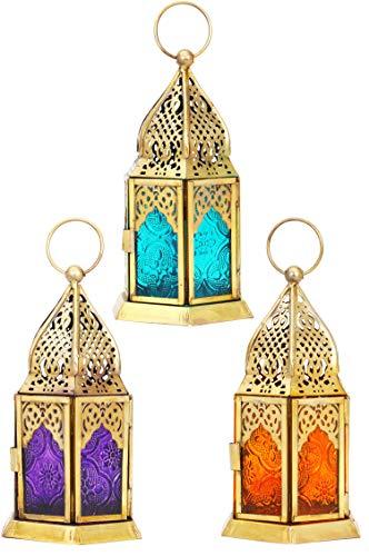 Orientalische Laternen 3 Set Laterne Angham bunt 15cm | 3x Orientalisches Windlicht aus Metall & Glas in 3 Farben | Marokkanische Glaslaterne für draußen als Gartenlaterne in Orange - Blau - Pink