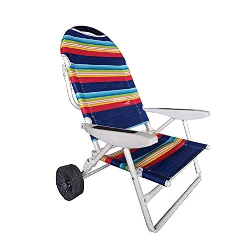 ZHAOJ Silla De Playa Plegable Baja, Carrito De Playa 2 En 1 para Exteriores, Plegable Portátil con Ruedas Todo Terreno para Broncearse, Acampar, Patio,97×70.8×55.1cm