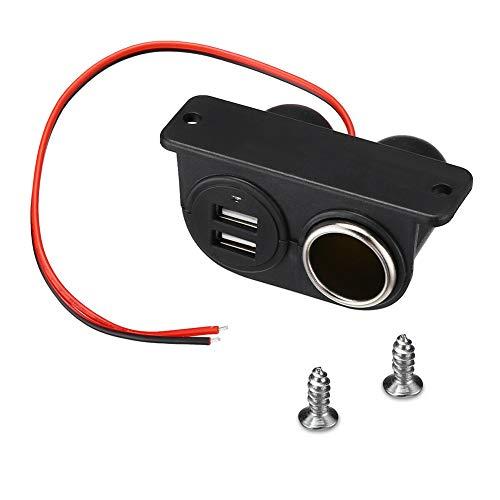 Cargador de Coche USB Dual, Trpambvia Universal 12V-24V Adaptador de Mechero para Panel de Enchufes Impermeable Toma de Encendedor de Cigarrillos para Coche Marino Motocicleta Camión