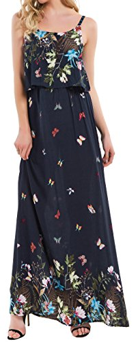 Kormei Damen Sommerkleid Ärmellos Boho A-Line Lang Kleid Maxikleid Party Strandkleid Dunkelblau Blumen L
