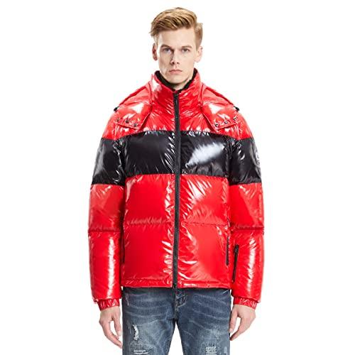 Extreme Pop Abrigo hombre con capucha de plumón de ganso blanco puro Ideal para invierno Chaqueta cortavientos impermeable con cremallera Marca del Reino Unido (M, Rojo 3)