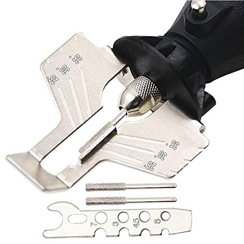 Chainsaw Grinding Tool Chain Saw Sharpening Attachment Power-Sharp Stone Grinding Saw Serrated with 3pcs Diamond Sharpening Wheels, Angle Guide Attachment for Lumberjack & Garden Worker