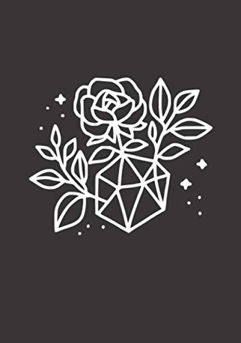 Notizbuch A5 kariert mit Softcover Design: Simple Rosen Blume mit Polygon Vase Sterne Himmel: 120 karierte DIN A5 Seiten