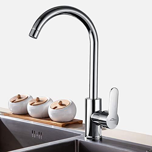 Auralum 360° drehbar Küchenarmatur,Hohem Auslauf wasserhahn küche und Spülbecken Armatur