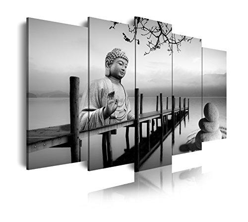 DekoArte 19 - Cuadros Modernos Impresión de Imagen Artística Digitalizada | Lienzo Decorativo Para Tu Salón o Dormitorio | Estilo Buda Zen Paisaje en blanco y Negro | 5 Piezas 150x80cm