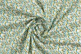 Tessuto al metro per bambini e neonati Cotone bianco foglioline Oeko-Tex