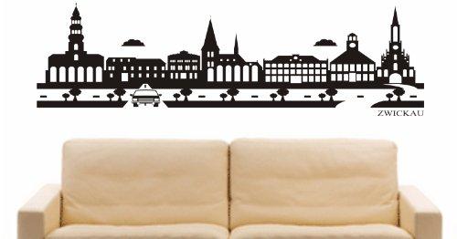 INDIGOS UG - Wandtattoo Wandsticker Wandaufkleber Aufkleber - Wandaufkleber e912 Skyline Stadt - Zwickau (Deutschland) Design 2-80x30 cm - schwarz - Dekoration Küche Bad Büro Hotel