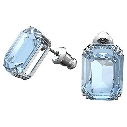 Swarovski Pendientes stud Millenia, Cristales talla octagonal, Azul, Baño de rodio