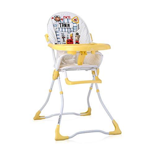 Lorelli, chaise haute Marcel, pliable, creux de tasse, tissu lavable, coloris:jaune blanc