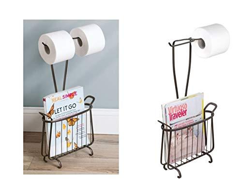 InterDesign Axis porte-papier toilette avec porte-revues porte-papier hygiénique en métal pour 2 rouleaux avec panier de rangement, couleur bronze