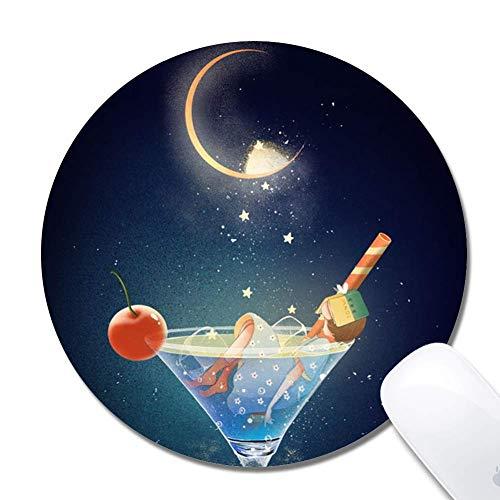 Mauspad mit genähten Kanten, blaues Weinglas Kundenspezifisches Design Erweitertes Gaming-Mauspad Rutschfeste Gummibasis Ergonomisches Mauspad für Computer - Schwarz rund