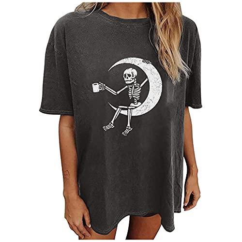 Damen Sommer T-Shirt Halloween Totenkopf Hemd Printed Hemden Elegant Kurzarm Rundhalsausschnitt Sweatshirt Lange Ärmel Oberteile Shirt Vintage Streetwear Tops Blusen Tee Hoodie