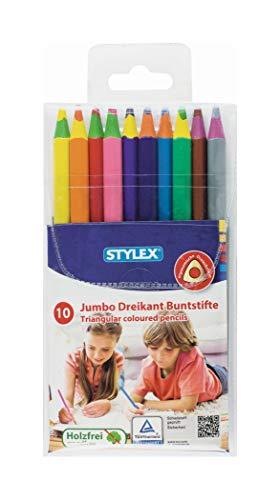 Stylex 26009 Buntstifte, 10 Stück, Blau, Braun, Grün, Grau, Hellblau, Orange, Rosa, Rot, Gelb – Buntstifte (10 Stück)