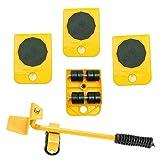 WeFoonLo 1 Set mobili Lifter Durable Heavy Appliance Mobili Sollevamento e spostamento Set di utensili per mobili pesanti e sollevamento di apparecchi, 1 asta di sollevamento e 4 rulli mobili (Giallo)