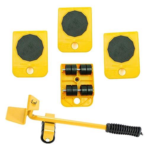 41QOBEGPlxL - WeFoonLo 1 juego de muebles elevador Herramienta de elevación y movimiento de muebles para electrodomésticos pesados, 1 barra de elevación y 4 rodillos móviles para muebles (Amarillo)