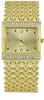 HUFAN 2PCS Casual -Studded Square Quartz Bracelet Watch(Gold) (Color : Gold)