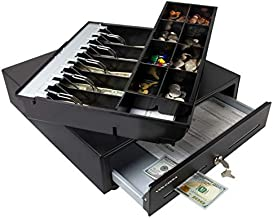 Cash Register Drawer for Point of Sale (POS) System with Fully Removable 2 Tier Cash Tray, 5 Bill/8 Coin, 24V, RJ11/RJ12 Key-Lock, Double Media Slot, Black