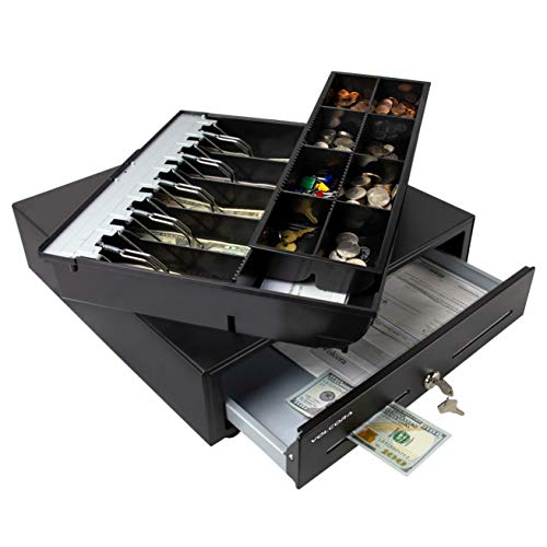 Cash Register Drawer for Point of Sale (POS) System with Fully Removable 2 Tier Cash Tray, 5 Bill/8...
