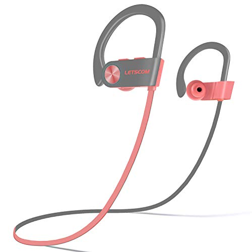 LETSCOM Bluetooth Headphones IPX7 Waterproof, Wireless Sport Earphones, HiFi Bass Stereo Sweatproof Earbuds W/Mic, Noise Cancelling Headset for Workout, Running, Gym, 8 Hours Play time, PinkGray