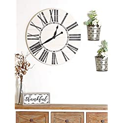 BrandtWorks Oversized Antique Wall Farmhouse Clock, 30 x 30, White/Black