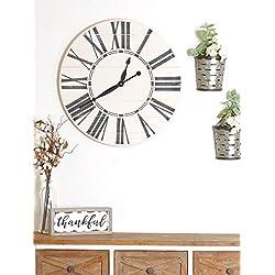 BrandtWorks Riley Oversized Farmhouse 36 Wall Clock, 36 x 36, White/Black