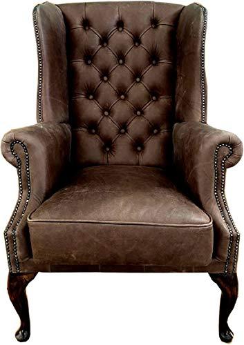 Casa Padrino sillón orejero Chesterfield de Cuero Vintage marrón/marrón - Sillón de salón - Sillón Chesterfield - Muebles de Salón Chesterfield