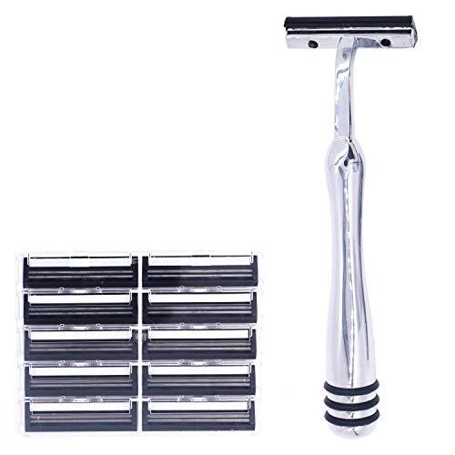 All Metal Trac 2 (Trac II) Compatible Non-PIVOTING Twin Blade Cartridge Razor & 10 Taconic Shave Cartridge Blades