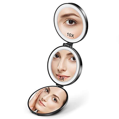 Lurrose Taschenspiegel handspiegel mit licht Schminkspiegel mit LED Beleuchtung 1X / 5X/ 10X Vergrößerung Kosmetikspiegel USB-Ladevorgang Klappbarer Kompakt Tragbarer Spiegel