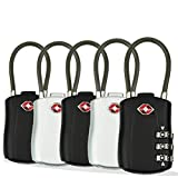 TSA Approved Travel Combination Cable Luggage Locks, 3 Digit Combination Padlock for Backpack Outdoor Travel, Luggage, School Gym Sports Locker, Gym Locker, Fence, Toolbox, 5 Pack (3 Black & 2 Silver)
