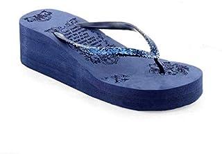 WMK Comfortable Casual Daily use House wear Slipper flip-Flop Foam Wedge Block Heels for Women