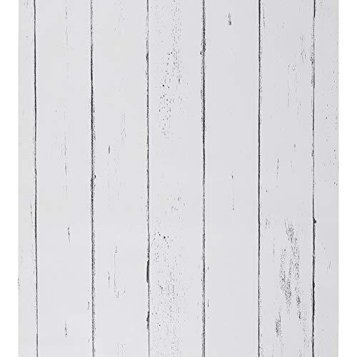 Weiße Tapete aus Holz selbstklebend Holzstreifen Streifen abziehen und aufkleben weißes Kontaktpapier aus Holz abnehmbar für Wohnzimmer Schrank Bar Theke Küche 45 x 1000 CM