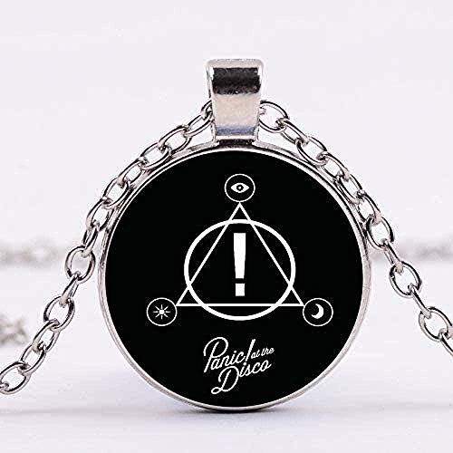ZJJLWL Co.,ltd Collar Hombre Collar Mysteries of Music Band Panic at The Disco Series Art Picture Glass Cabochon Charm Collares Pendientes Hechos a Mano