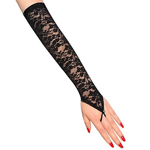 Egurs Brauthandschuhe Abendhandschuhe Lang Fingerlos Handschuhe mit Spitze für Hochzeit Party Schwarz