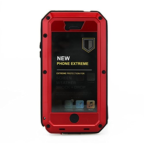 Mangix iPhone 5C Case, Water Resistant Shockproof Aluminum Metal [Outter] Super Anti Shake Silicone [Inner] Fully Body Protection with Gorilla Glass Screen for Apple iPhone 5C (Red)