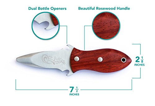 Oyster Knife with Rosewood Handle - Built-In Bottle Openers - GiftBox Included