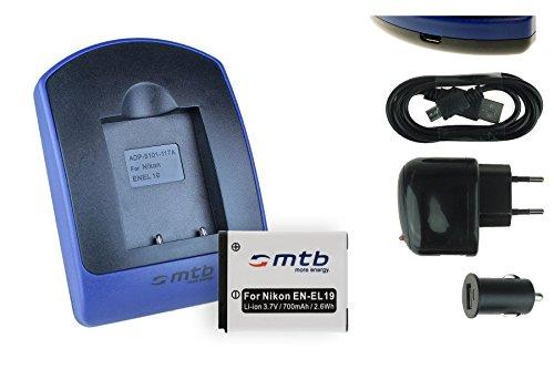 Baterìa + Cargador (USB/Coche/Corriente) EN-EL19 para Nikon Coolpix A100 S33 S100 S2750 S3700 S5300 S6900 S7000. - Ver Lista