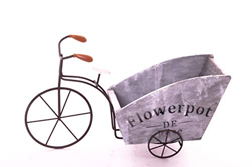 DECO GEMME Fahrrad-Töpfe Vintage mit Blumen, Blumentopf Fahrrad, Vintage Blumentopf, Fahrrad, Vintage, Dekoration, aus Holz, Blumendekoration, für Garten oder Terrasse