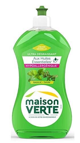 Maison Verte Liquide vaisselle main ultra dégraissant aux huiles essentielles basilic/thym - Le flacon de 500ml