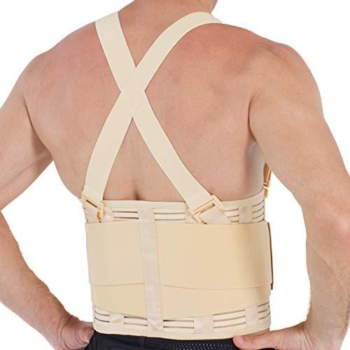 Neotech Care - Tutore per schiena con bretelle rimovibili - cintura di supporto lombare - lavoro pesante, sollevamento pesi, esercizi, palestra (Beige, Taglia S)