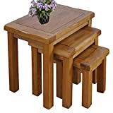 Rongyuan Solid OAK Nest of 3 Tables Wooden Side Nesting Wood End Coffee Lamp Table Rustic Sets