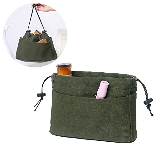 Pergamano Rate Canvas Purse Organizer Organiseur Insert avec Compartiments Make Up Travel Storage Sac à Main, Vert, Grand Modèle