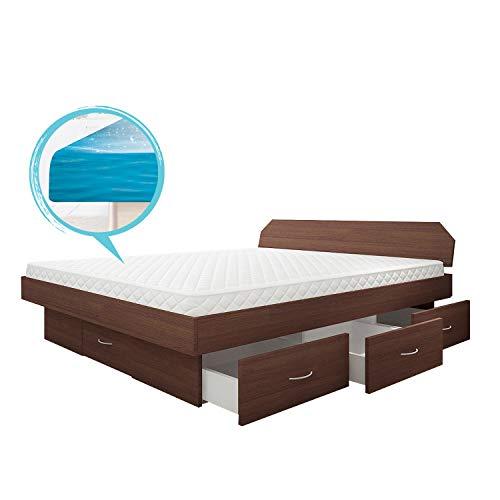SONDERAKTION bellvita silverline Wasserbett mit Soft-Close Schubladensockel & Bettumrandung inkl. Lieferung & Aufbau durch Fachpersonal, 200cm x 200cm (wenge)