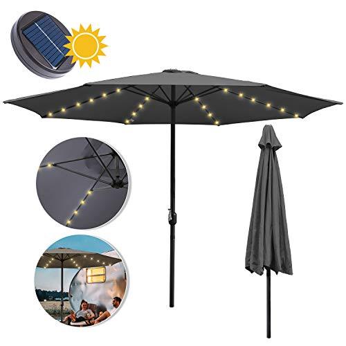 wolketon Sonnenschirm Ø 350cm Alu Marktschirm mit Warmweiß Solar-Beleuchtung Gartenschirm Terrassenschirm UV 30+ Kurbelschirm