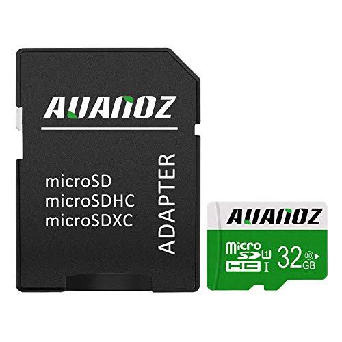 Scheda micro SD 32GB Auanoz micro SDXC Classe 10UHS-I scheda di memoria ad alta velocità per cellulari, tablet e PC–con adattatore (verde)